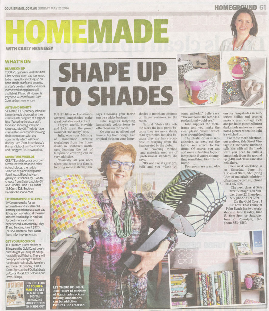 Sunday Mail Homemade Section p61 Feature on Ministry of Handmade making lampshades