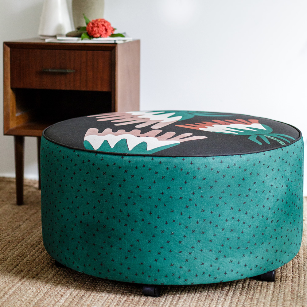 Art Series Ottoman - Fuscia by Felicia Gibson of Home Dweller - styled
