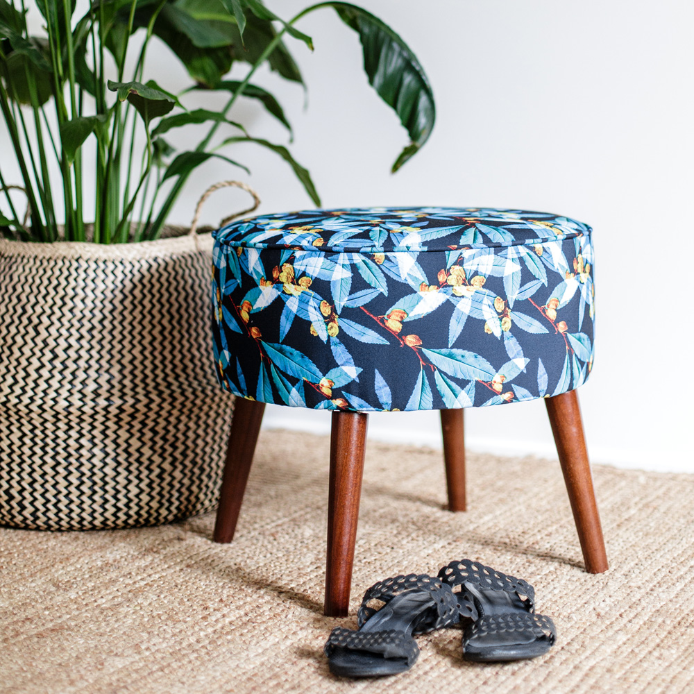 Art Series Ottoman - Banksia by Bridget Diggins of Botanic Print House