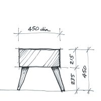 Sketch of Oscar Ottoman with timber legs