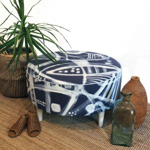 Ramuk Midnight Large Ottoman by Josie Annear - top