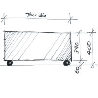 Sketch of the Rollo Ottoman with casters