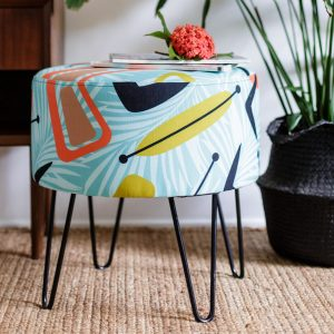 Ottoman Tropicana Azul by Lynne Tanner of Social Fabric - Styled 2
