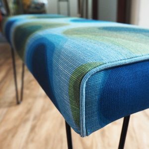 Benni Ottoman with Social Fabric and hairpin legs