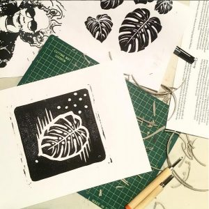 Chris and Claudia of Grey Hand Press for Linocut Printmaking