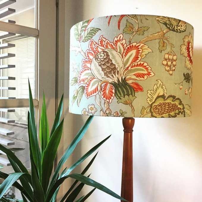Drum lampshade on stand made by Ministry of Handmade
