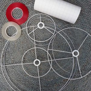 Supply professional quality lampshade materials including ring sets, self adhesive PVC, double sided tapes and tools.