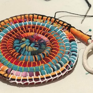 Starting a coiled basket using recycled fabric