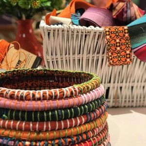 Basket coiling lessons using recycled fabric