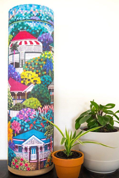 "Hero Lamp collaboration with Debra Hood Art ""Hibiscus Affair"""