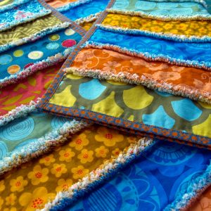 Contemporary Shaggy Quilt - colourful - showing reverse