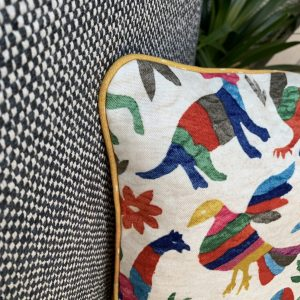 Piped Cushion with Marimba Fabric