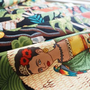 Ministry of Handmade fabric - Frida Kahlo on black background