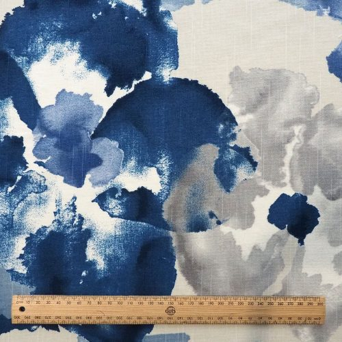 Ministry of Handmade fabric - blue watercolour flowers in greys, blues and navy