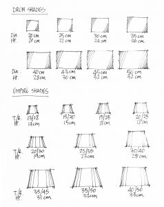 Lampshade size chart