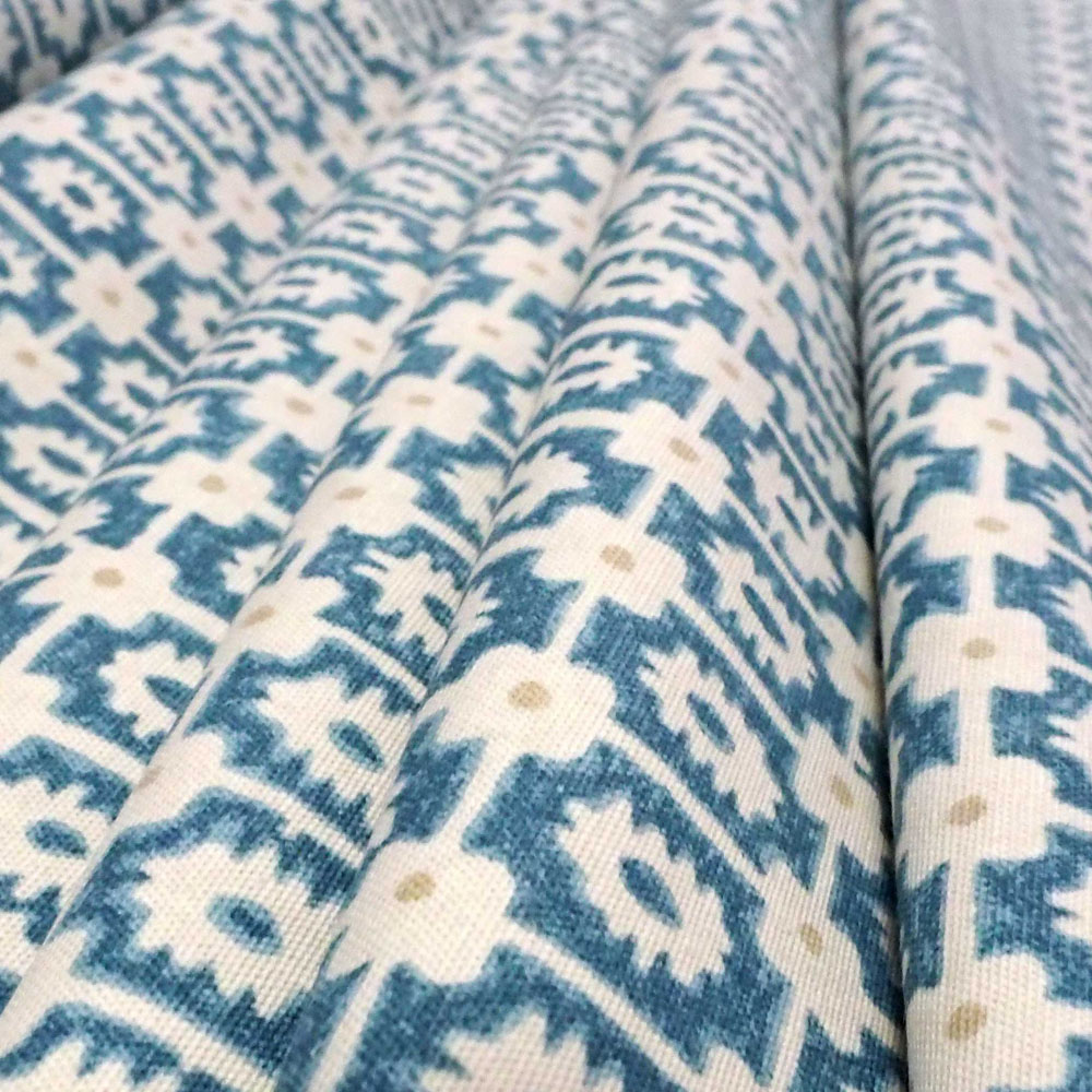 Airlie Fabric in blue and stone