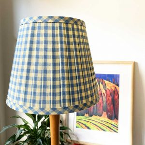 Pleated Shade with blue and yellow gingham