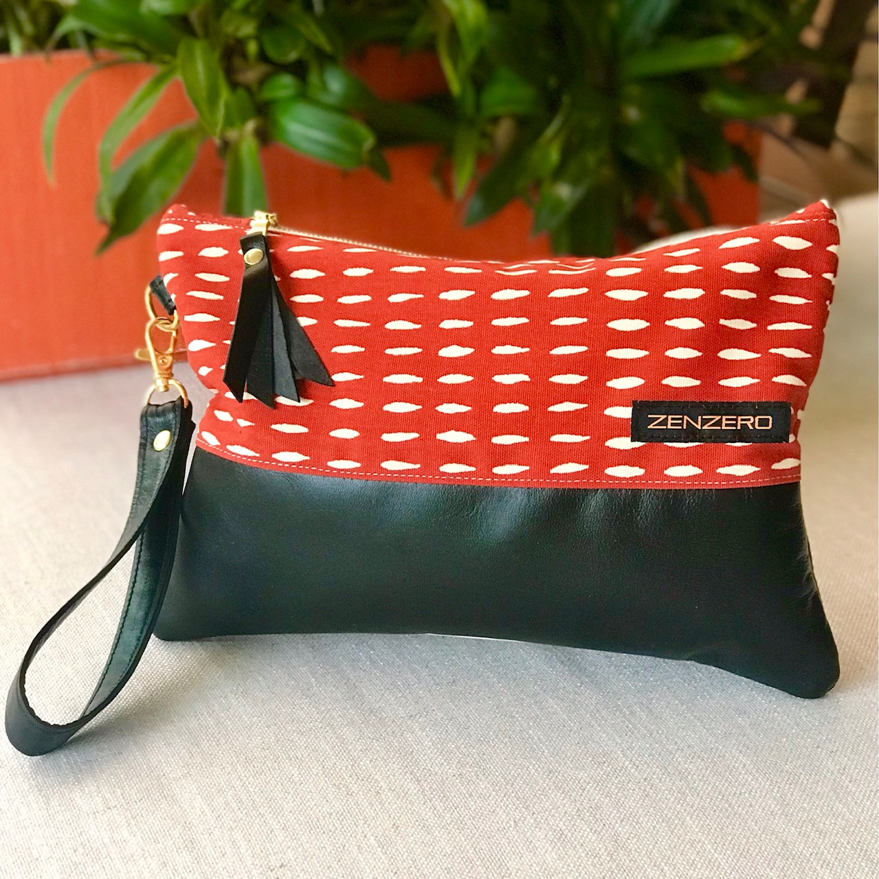Leather Trimmed Clutch