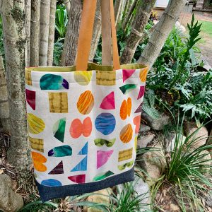 Lined Tote Bag with Leather Handles