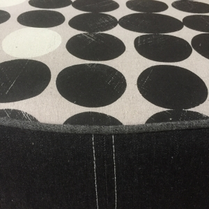 Custom made ottoman with fabric by Julie Paterson