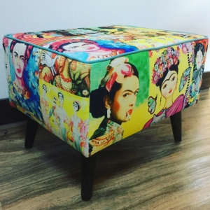Custom made ottoman with a Freda print